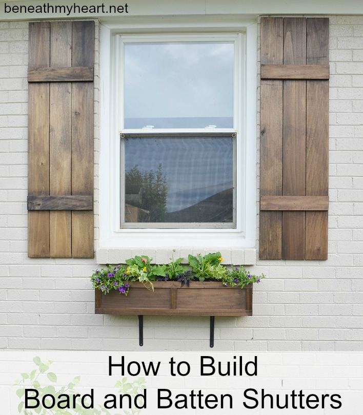 How to build board and batten shutters beneath my heart - Red exterior wood paint plan ...