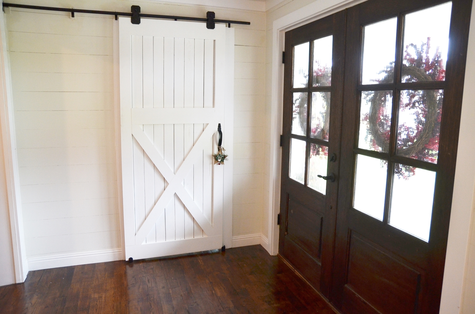 how to hang a barn door beneath my heart. Black Bedroom Furniture Sets. Home Design Ideas