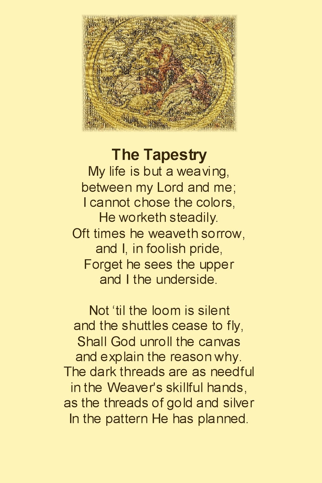 lbb poem the tapestry