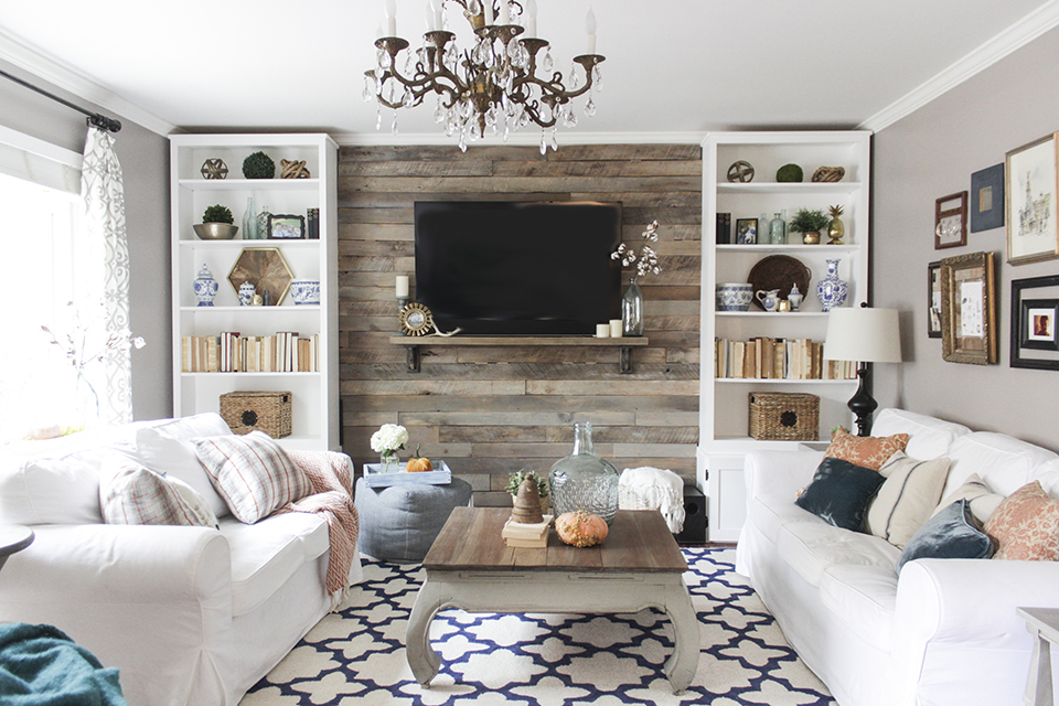 Hide that tv ideas for a diy accent wall that includes a for Diy living room designs