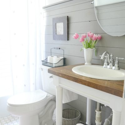 Farmhouse Bathroom Refresh  {Adoption Update}