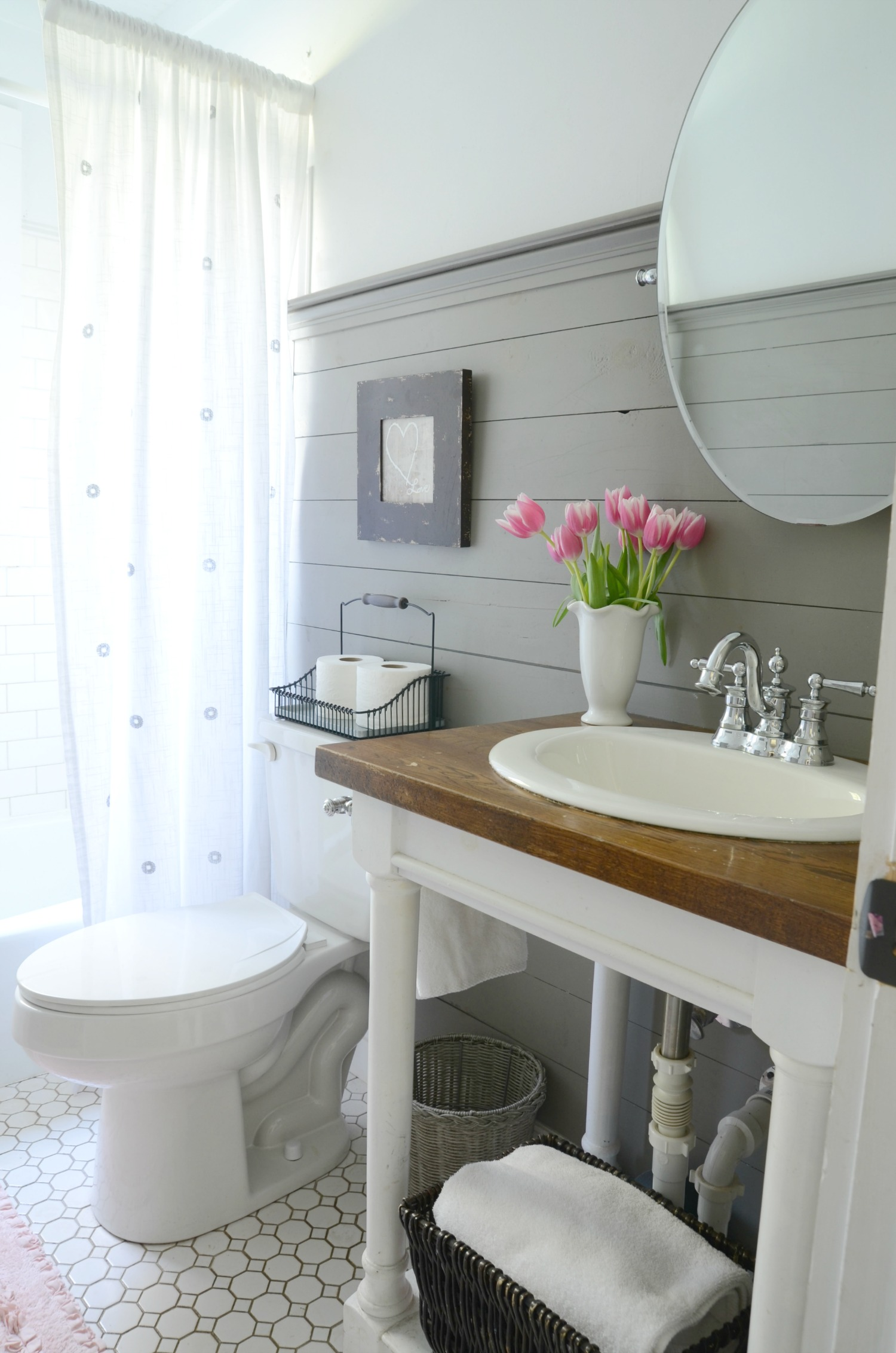 Farmhouse bathroom refresh adoption update beneath my for Bathroom ideas uk pinterest
