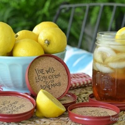 DIY Mason Jar Lid Coasters