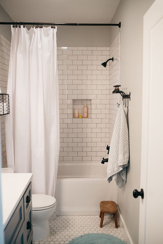 How to Style a Modern Farmhouse Bathroom - Beneath My Heart on Modern Farmhouse Shower  id=34467
