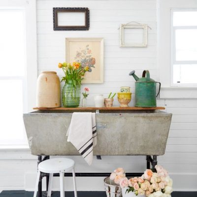 A Vintage Concrete Laundry Sink in the Laundry Room