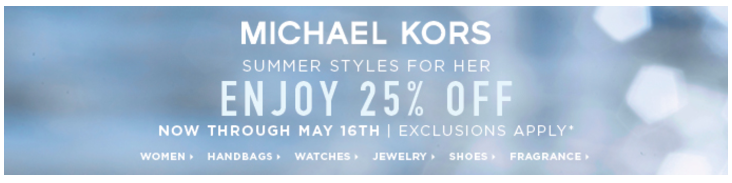 Michael Kors 25% off promo code