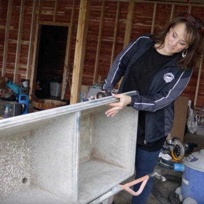 Installing the Vintage Concrete Sink in our Laundry Room!