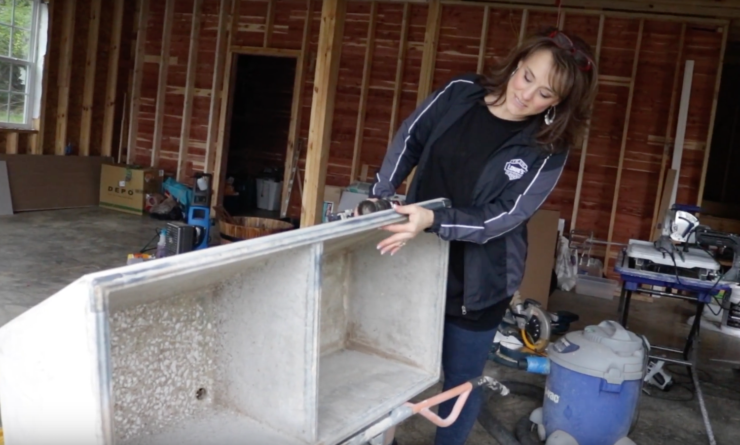 Installing The Vintage Concrete Sink In Our Laundry Room