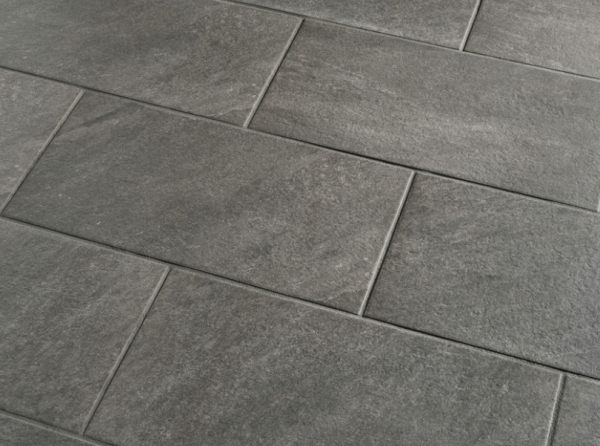 24 Porcelain Tile From Lowe S Called Galvano Charcoal I Love The Larger Sized Tiles And Went With Gray Color Because Knew It Would Help Hide