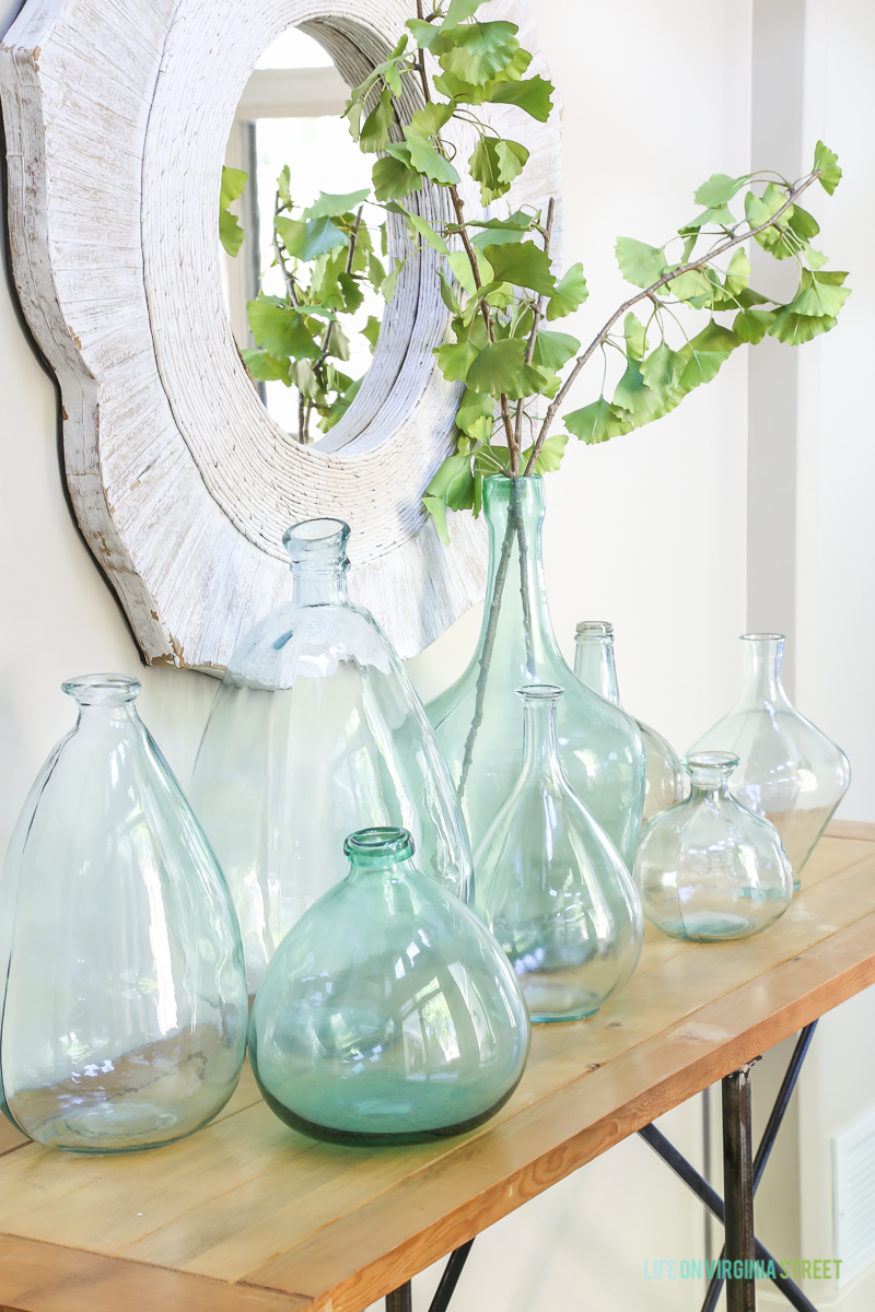 Decorating With Aqua Vases Beneath My Heart