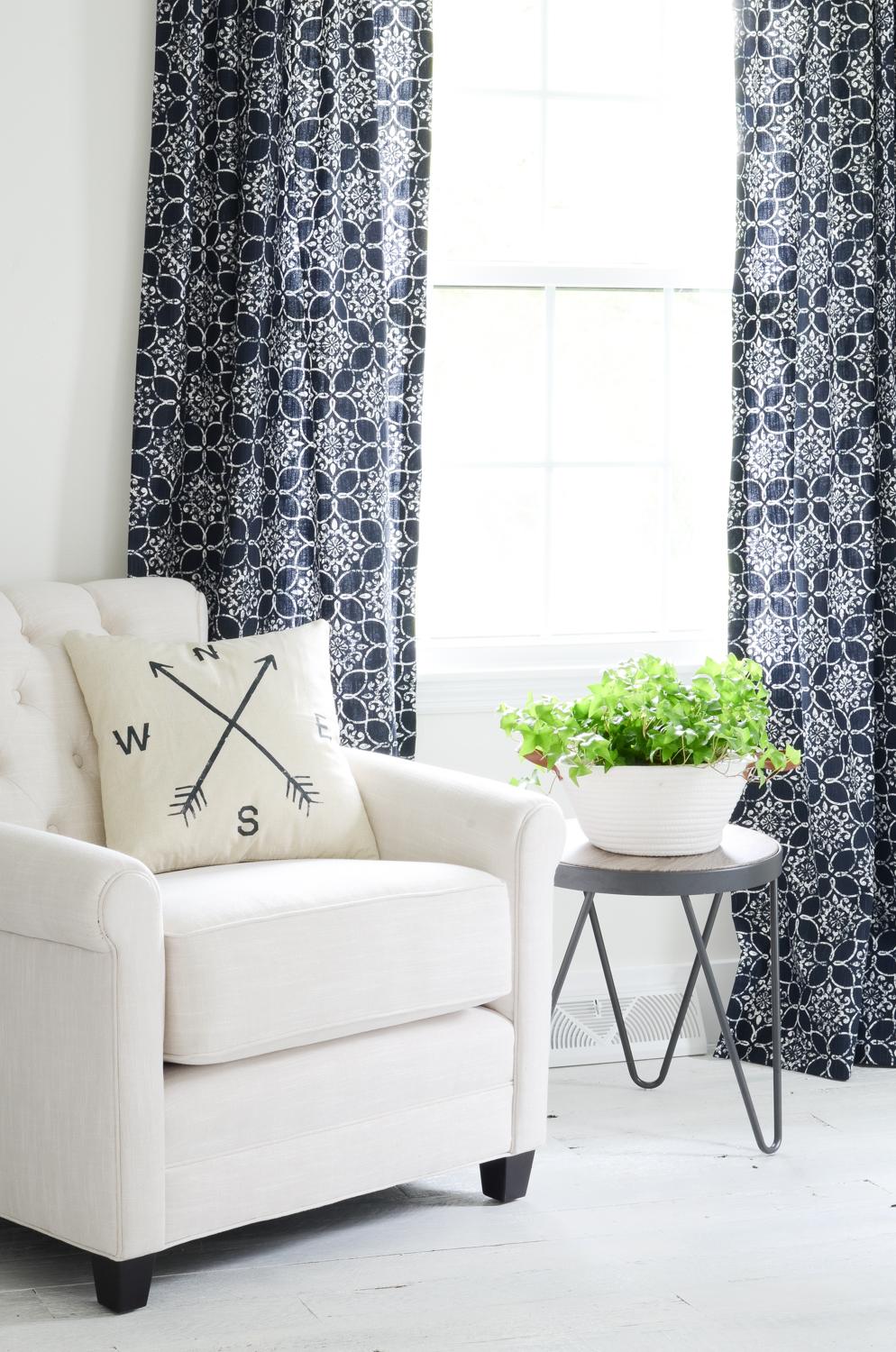 Navy Blue Curtains and New Chair for my Office - Beneath My Heart