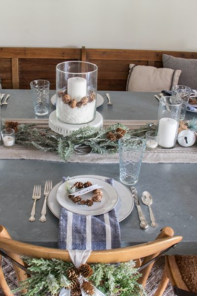 DIY Pinecone Wreath Place Card Holders and Christmas Tablescape